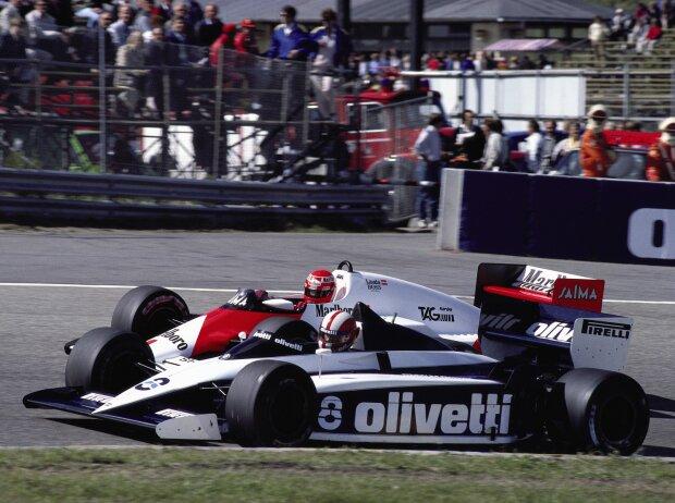 Marc Surer und Niki Lauda in Zandvoort 1985