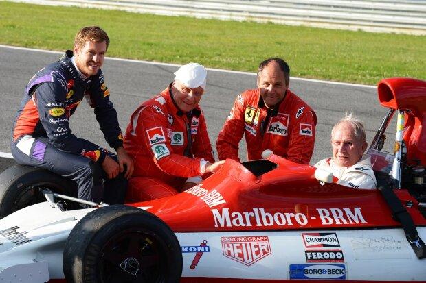 Sebastian Vettel Niki Lauda Gerhard Berger Helmut Marko Red Bull Aston Martin Red Bull Racing F1 ~Sebastian Vettel (Ferrari), Niki Lauda, Gerhard Berger und Helmut Marko ~