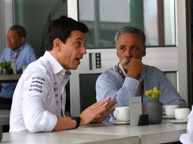 Toto Wolff, Chase Carey, Ross Brawn