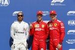 Lewis Hamilton (Mercedes), Sebastian Vettel (Ferrari) und Charles Leclerc (Ferrari)