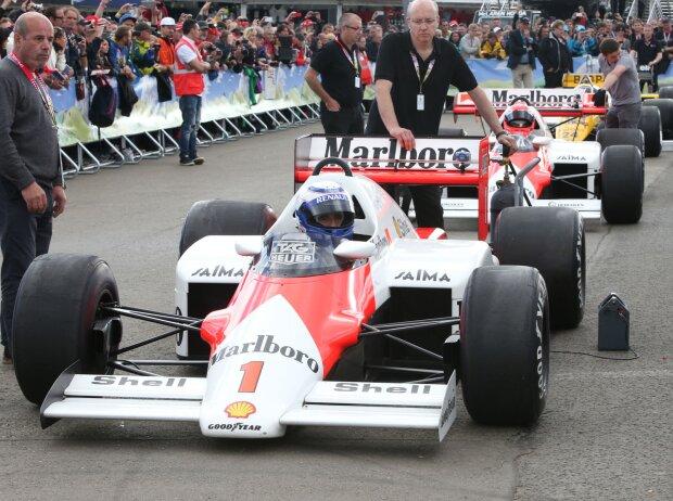 Alain Prost und Niki Lauda, McLaren, Legendenparade