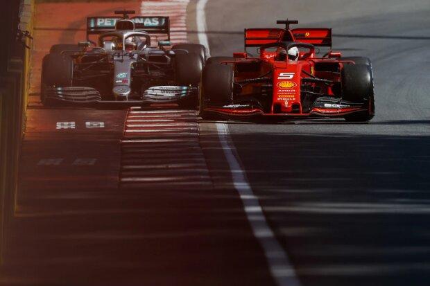 Sebastian Vettel Lewis Hamilton Ferrari Scuderia Ferrari Mission Winnow F1Mercedes Mercedes-AMG Petronas Motorsport  F1 ~Sebastian Vettel (Ferrari) und Lewis Hamilton (Mercedes) ~