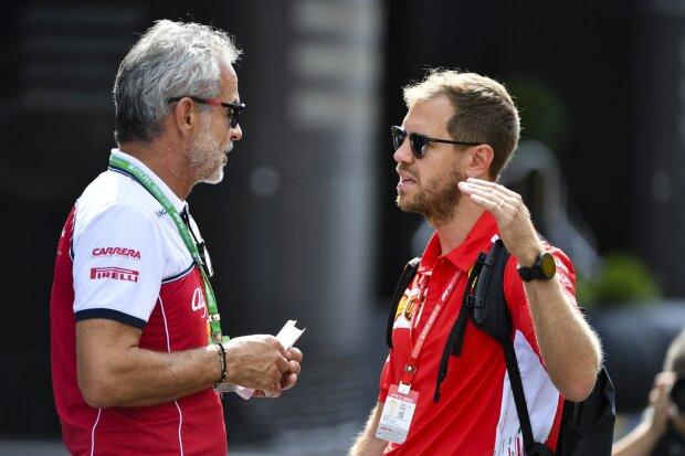 Beat Zehnder Sebastian Vettel Ferrari Scuderia Ferrari Mission Winnow F1 ~Beat Zehnder (Alfa Romeo) und Sebastian Vettel (Ferrari) ~