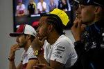 George Russell (Williams), Lewis Hamilton (Mercedes) und Antonio Giovinazzi (Alfa Romeo)