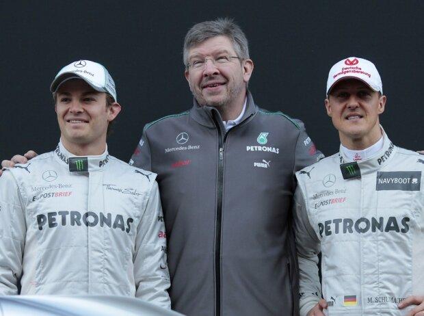 Michael Schumacher, Ross Brawn, Nico Rosberg