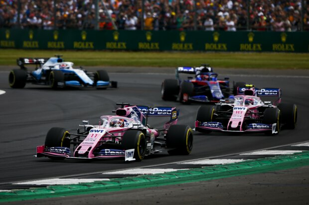 Sergio Perez Lance Stroll Daniil Kwjat George Russell Toro Rosso Red Bull Toro Rosso Honda F1Williams ROKiT Williams Racing F1 ~Sergio Perez (Racing Point), Lance Stroll (Racing Point), Daniil Kwjat (Toro Rosso) und George Russell (Williams) ~