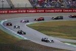 Lewis Hamilton (Mercedes), Kevin Magnussen (Haas), Valtteri Bottas (Mercedes) und Max Verstappen (Red Bull)