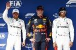 Valtteri Bottas (Mercedes), Max Verstappen (Red Bull) und Lewis Hamilton (Mercedes)