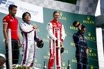 Nobuharu Matsushita (Carlin), Mick Schumacher (Prema) und Sergio Sette Camara (DAMS)