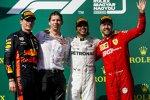 Max Verstappen (Red Bull), Lewis Hamilton (Mercedes) und Sebastian Vettel (Ferrari)