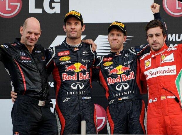Sebastian Vettel, Mark Webber, Fernando Alonso, Adrian Newey
