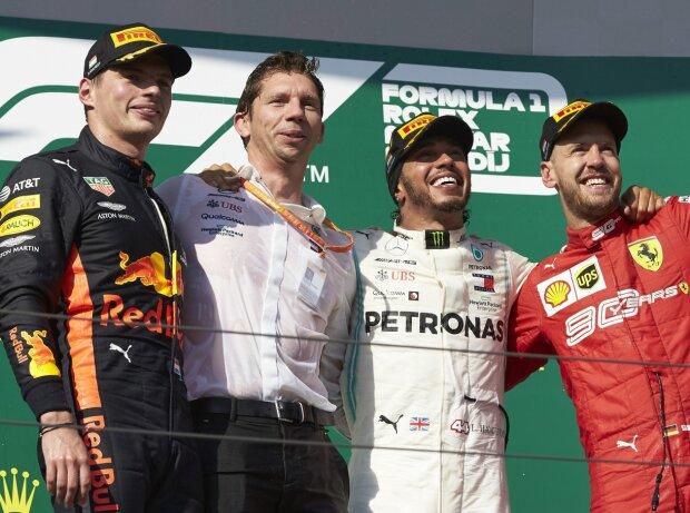 Max Verstappen, Lewis Hamilton, Sebastian Vettel