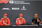 Sebastian Vettel (Ferrari), Charles Leclerc (Ferrari) und Lewis Hamilton (Mercedes)