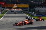 Charles Leclerc (Ferrari), Sebastian Vettel (Ferrari), Lewis Hamilton (Mercedes) und Valtteri Bottas (Mercedes)