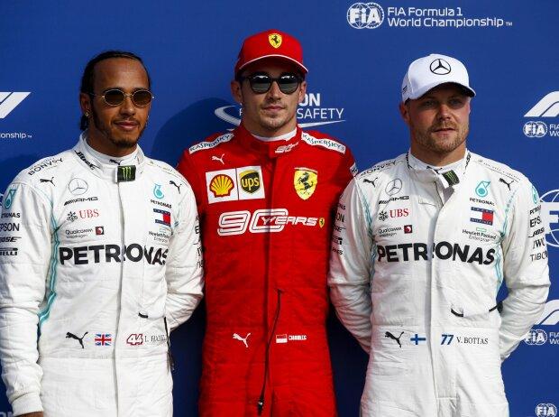 Lewis Hamilton, Charles Leclerc, Valtteri Bottas