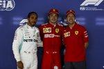 Lewis Hamilton (Mercedes), Charles Leclerc (Ferrari) und Sebastian Vettel (Ferrari)