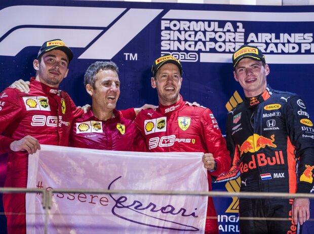 Charles Leclerc, Sebastian Vettel, Max Verstappen