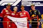 Charles Leclerc (Ferrari), Sebastian Vettel (Ferrari) und Max Verstappen (Red Bull)