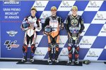 Aron Canet (Max Racing), Ai Ogura (Honda Asia) und Carlos Tatay