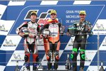 Aron Canet (Max Racing), Ai Ogura (Honda Asia) und Dennis Foggia (VR46)