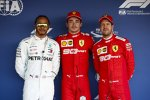 Charles Leclerc (Ferrari), Lewis Hamilton (Mercedes) und Sebastian Vettel (Ferrari)