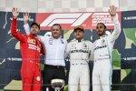 Sebastian Vettel (Ferrari), Valtteri Bottas (Mercedes) und Lewis Hamilton (Mercedes)