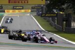 Lance Stroll (Racing Point), Daniel Ricciardo (Renault) und Sergio Perez (Racing Point)