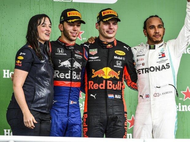 Pierre Gasly, Max Verstappen, Lewis Hamilton