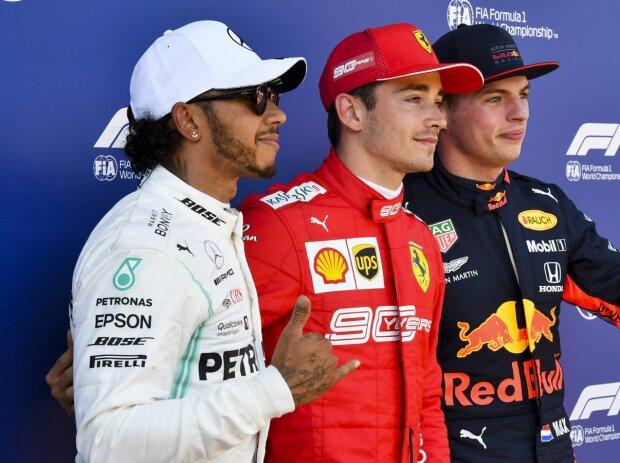 Lewis Hamilton, Charles Leclerc, Max Verstappen