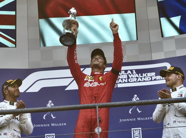 Charles Leclerc, Lewis Hamilton, Valtteri Bottas