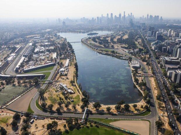 Der Albert Park in Melbourne aus der Vogelperspektive