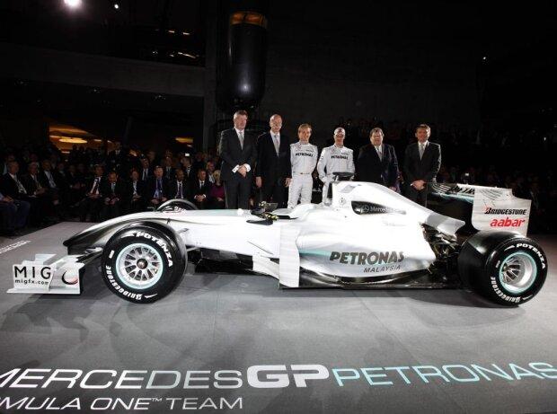 Michael Schumacher, Nico Rosberg, Nick Fry, Norbert Haug, Ross Brawn