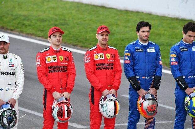 Charles Leclerc Sebastian Vettel Carlos Sainz Ferrari Scuderia Ferrari Mission Winnow F1McLaren McLaren F1 Team F1 ~Charles Leclerc (Ferrari), Sebastian Vettel (Ferrari) und Carlos Sainz (McLaren) ~