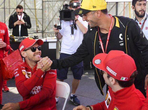 Daniel Ricciardo, Sebastian Vettel, Charles Leclerc