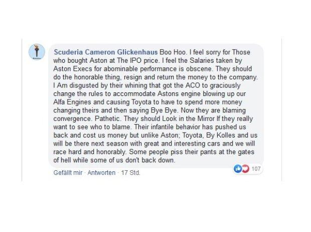 Scuderia Cameron Glickenhaus, Aston Martin, Facebook-Statement