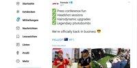 Twitter-Screenshot Formel 1