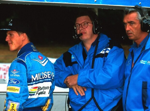 Michael Schumacher, Ross Brawn, Flavio Briatore, Spa 1994