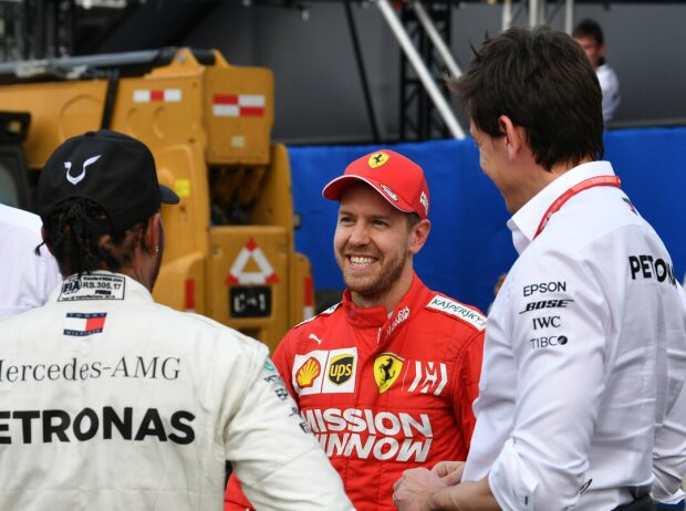 Lewis Hamilton, Sebastian Vettel, Toto Wolff