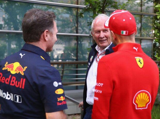 Christian Horner, Helmut Marko, Sebastian Vettel