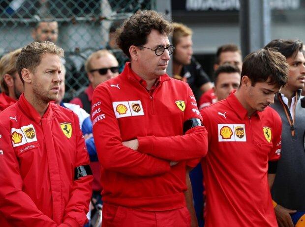 Sebastian Vettel, Mattia Binotto, Charles Leclerc, Anthoine Hubert