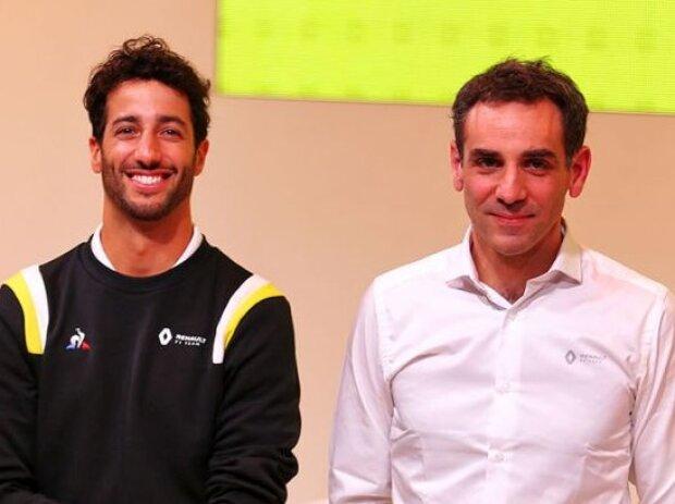 Esteban Ocon, Daniel Ricciardo, Cyril Abiteboul, Alain Prost