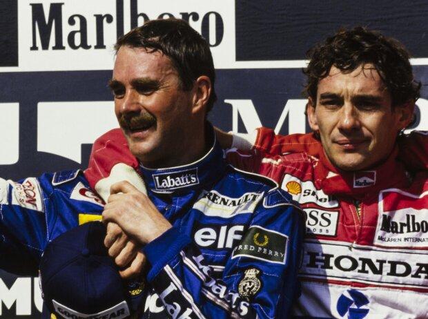 Nigel Mansell und Ayrton Senna