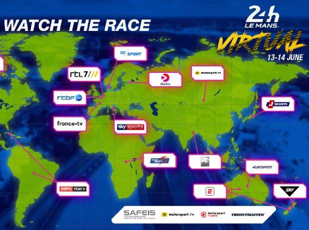 24h Le Mans virtuell: Übersicht Übertragungspartner