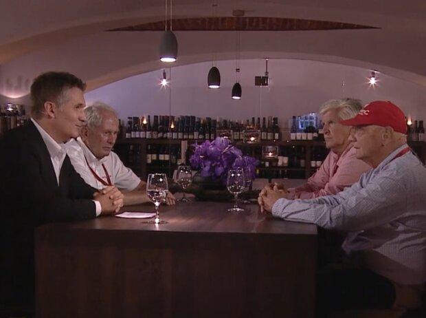Andreas Gröbl, Helmut Marko, Roger Benoit und Niki Lauda bei ServusTV