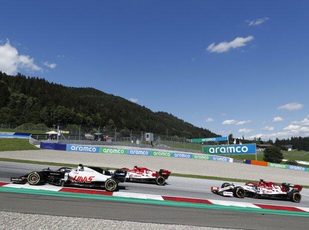 Romain Grosjean, Antonio Giovinazzi, Kimi Räikkönen