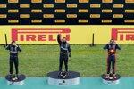 Valtteri Bottas (Mercedes), Lewis Hamilton (Mercedes) und Max Verstappen (Red Bull)
