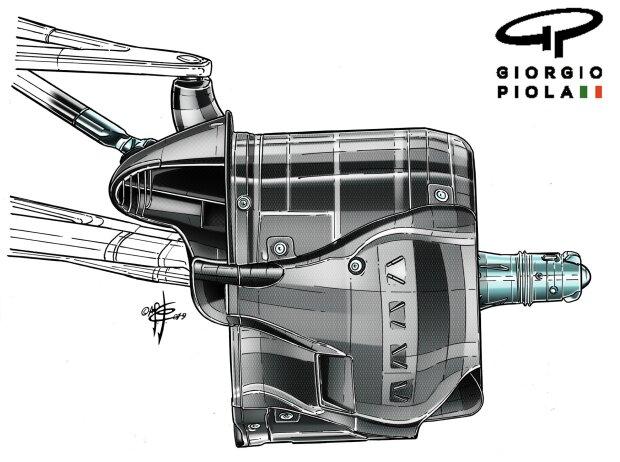 Bremsschacht des Mercedes F1 W10