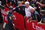 Max Verstappen (Red Bull), Christian Horner, Helmut Marko und Adrian Newey