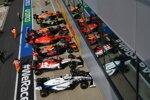 George Russell (Williams), Kimi Räikkönen (Alfa Romeo), Alexander Albon (Red Bull), Charles Leclerc (Ferrari), Max Verstappen (Red Bull), Daniel Ricciardo (Renault) und Lando Norris (McLaren)
