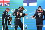 Lewis Hamilton (Mercedes), Max Verstappen (Red Bull) und Valtteri Bottas (Mercedes)